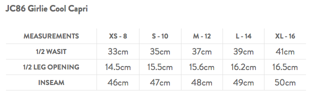 JC86 Capri Leggings Size Guide