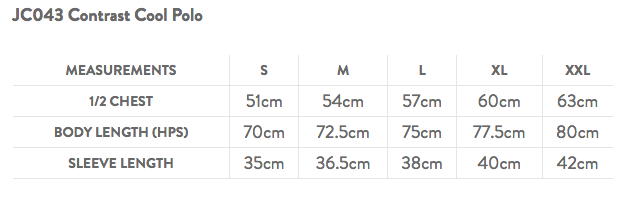 AWD Contrast Polo Size Guide
