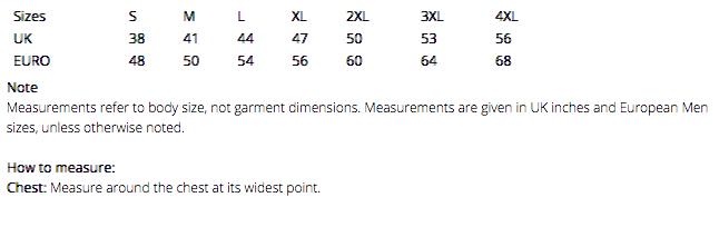 Mens Body Warmer Sizes